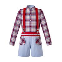 calças de menino vermelho venda por atacado-Pettigirl Conjuntos de Roupas de Outono Meninos Camisa Xadrez Vermelho + Calças Com Suspensórios Baby Boy Outfits Roupa Dos Miúdos B-DMCS206-176