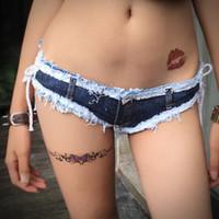 disko kot toptan satış-Kadınlar Püskül Denim Thong Şort Seksi Gece Kulübü Plaj Mikro Mini Kot Bayanlar Kısa Disco Dans Hotpants Şort Feminino Jeans