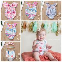 bebek kıyafeti kıyafeti toptan satış-5 stilleri Unicorn Yaz Plaj Kıyafetleri Bebek Kız Tulum Backless Kek Bandaj Yay Elastik Mermaid Ok Çadır Baskılı Toddler Tulum FFA2161