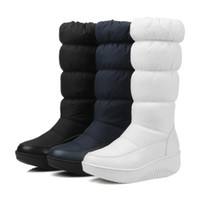 Wholesale platform warm snow boots for sale - Group buy 2019 Winter Women Boots Mid Calf Warm Down Boots Plush Insole Female Non slip Waterproof Snow Boots Girls Ladies Platform Woman Shoes