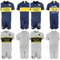 jérsei de futebol personalizado venda por atacado-18 19 Temporada Boca Juniors Futebol 32 Carlos Tevez Jersey Conjunto 5 Fernando Gago 10 Edwin Cardona Camisa de Futebol Kits Uniformes Personalizado Número De Nome