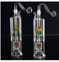 lámpara de aceite gafas al por mayor-2 capas de filtro de partición mute cinta lámpara bongs de vidrioWholesale Bongs Oil Burner Pipes Water Pipes Glass Pipe Rigs Oil Fumar envío gratuito