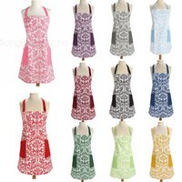 Wholesale cook dress for sale - Group buy 11styles Retro Aprons printed floral Home Cooking Kitchen BBQ Dinner Party baking Front Pocket home Adult Women Aprons dress FFA2827