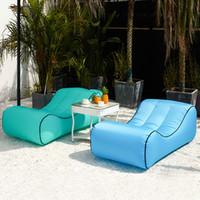 şişirilmiş kamp yatakları toptan satış-Taşınabilir Şişme Uyku Hava Kanepe Moda Şezlong Sandalye Yatak Tembel Şişirmek Kamp Plaj Yatak Açık Uyku Hamak TTA526