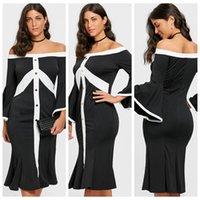 2019 Hot Sale Women Fashion Black White Patchwork Hip Package Button Strip  Flare Sleeve Off-shoulder Mermaid Sexy Dress 2a1c4849f