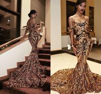 vestido de cuello de oro negro al por mayor-Vestidos de noche de oro negro de lujo Sirena fuera del hombro Vestidos de fiesta africanos atractivos Vestidos Vestidos para ocasiones especiales vestido de fiesta