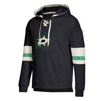dallas jersey preto venda por atacado-Dallas designer hoodies Estrelas Jersey Lace-Up Pullover Hoodie Preto Com Splicing Draw string Mangas Completas Costurado marca logotipo
