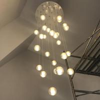 luminárias pingente laranja venda por atacado-Modern levou grande escadaria de cristal lustre luminárias penduradas bolas brilho cristal longo sótão de vidro Lustre lâmpada AC110-240V