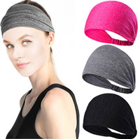 Wholesale color cotton hair band resale online - Solid color sweat hairband fashion sports headbands women s fitness sweat absorption wide brimmed headband anti skid Yoga running hair band