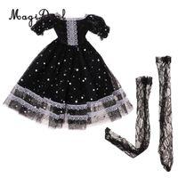 süße bjd puppen groihandel-1/3 Süßes Prinzessin Gauzy Kleid mit Spitzenstrümpfen Schwarz für BJD Doll Wickelzubehör