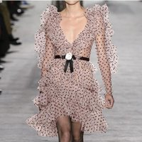 yüksek boyunlu örgü toptan satış-Yüksek Kalite 2019 Yeni Kadın Seksi V Yaka Elbise Uzun Kollu Kadınlar için Örgü Ruffled Dantel Elbise Ince Ince Mini elbise Pembe Vestidos