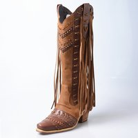 estilo de moda botas longas venda por atacado-Moda rebite franja cravejado estilo punk na altura do joelho botas de cano alto das mulheres do dedo do pé quadrado robusto botas de couro genuíno tassel botas longas