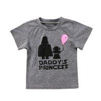 balon yüksek toptan satış-Toptan Bebek Kız Giysileri Gri Yüksek Kaliteli Mektup babasının Prenses Balon Desen Baskılar O-Boyun T-shirt Moda Sıcak