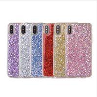 Wholesale crystal bling gel case online – custom Bling Bling Phone Case for IPhone X XS MAX XR s Plus p p Flash Bling Glitter Bulk Crystal Diamond Luxury Powder Gel Cover