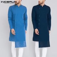 islam erkekler toptan satış-Streetweear Kurta Hint Giysileri Erkekler Gömlek Suits Uzun Kollu Mandarin Kazaklar İslam Giyim Chemise Kurtas Kaftan