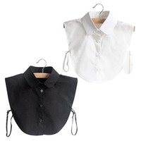 белые блузки черные воротнички женщины оптовых-Fashion Doll Collar Vintage Elegant Women's Fake Half Shirt Detachable Blouse Black White Colors XRQ88