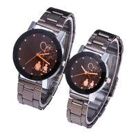 Wholesale metal lovers for sale - Fashion top notch lovers couple alloy metal diamond silver band watches women mens ladies dress quartz wrist watches
