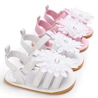 baby sandalen großhandel-Neugeborene Kinder Blumen Sandalen Baby Mädchen Babyschuhe PU Kinderschuhe