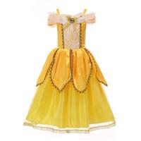 vestido formal de criança amarela venda por atacado-Bebê Tutu meninas rendas vestido Formal Halloween Natal as crianças do desenhador amarelo princesa vestidos de banda desenhada caçoa a roupa para a festa C1372