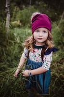 ingrosso fiori di zebra stampati-Set di vestiti per ragazza per bambini Flower Grass Stampa Shirt Strap Denim Gonna Suit Flying Sleeve Bow Knot 24