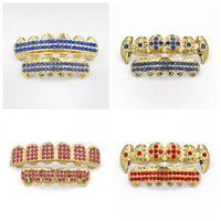 ingrosso diamanti dentali-Hip Hop Denti Grillz diamante di colore più venduti 17jaa Oro parentesi graffe metalliche placcare rame Dental Grill uomini delle donne del doppio di modo Row N1
