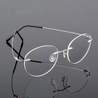 óculos ultra sem aro sem aro venda por atacado-Retro rodada dobrável titanium liga ultra-leve memória miopia óculos sem aro elasticidade óptica óculos de armação homens óculos