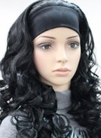 Wholesale black half wigs for sale - WIG Hot heat resistant Party hair gt gt gt Excellent Black Long Curly women Daily half wig with headband