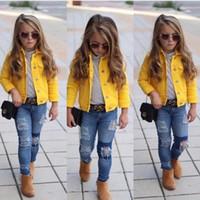 niños chaquetas niños amarillo al por mayor-2019 Princesa Kids Baby Girls Boys Sólido Amarillo Denim Coat Jacket Button Prendas de abrigo Ropa linda