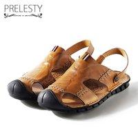 sapatos formais perto do pé venda por atacado-Prelesty Verão Mens Fechados Sandálias Toe Vestido Deslizamento em Sapatos Freash Cool Dois Estilo Rachado Cow Couros Sandálias Clássicos