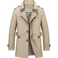 chaqueta de moda asiática de los hombres al por mayor-Nueva llegada de la marca de la chaqueta de los hombres de diseño de moda abrigo Slim Fit sólido algodón de color caqui ropa asiática tamaño M-5XL