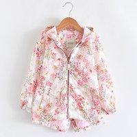 çiçek kız kat toptan satış-Bahar Kız Ceketler Ve Kız Çocuk Kabanlar için Coats Kapşonlu Çiçek Desenli Çocuk WINDBREAKER Bebek Ceket Sonbahar Ceket
