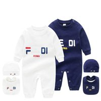 Wholesale rompers boys resale online - Infant set Hat Bib Jumpsuit Kids Designer Clothes Girls Boys Brand F letter Clothes Newborn Baby Fd Rompers Toddler Designer Clothes