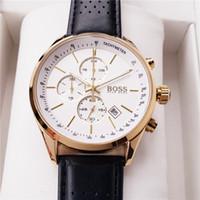 relógio genuíno venda por atacado-Luxo Boss Business Mens Relógios de Alta Qualidade de Quartzo dos homens de Couro Genuíno Relógio de Pulso Todos os pequenos relógios de trabalho Com Caixa de Presente