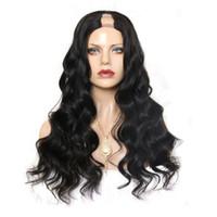 pelucas parte de la virgen india u al por mayor-Cabello humano U parte pelucas Onda del cuerpo Virgen India sin procesar Remy Cabello humano Upart peluca ondulada parte media para mujeres negras