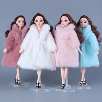 barbie prenses bebek toptan satış-11 Inç 30 Cm Prenses Giysileri Moda Kış Kürk Bebekler Için Giysi Uzun Elbise Ceket Bebek Aksesuarları Barbie bebek Giysileri