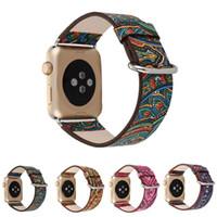 ingrosso orologi in boemia per le donne-Cinturino in pelle stampa Bohemian per cinturini Apple Watch cinturino 42mm 38mm per iWatch Series 4 3 2 1 Cinturino donna