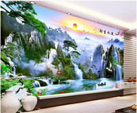Wholesale mountain decor resale online - 3d wallpaper custom photo mural Chinese mountain forest lake scenery background wall Home decor living room wallpaper for walls d