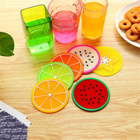 Wholesale cute coasters for sale - Group buy Colorful Fruit Shape Coaster Mat Promotional Cute Pattern Silicone Round Coaster Holder Thick Drink Cutlery Coaster Cup XD22168