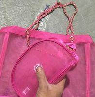 black cosmetic bag großhandel-2019 Neue schwarze rosafarbene Netz-Einkaufstasche mit großer Kapazität für den Versand von Trompeten-Handtaschen und Bändchen-Set-Damen beim Waschen oder Aufbewahren von Strandtaschen