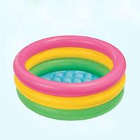 piscinas infantis infláveis venda por atacado-Piscina inflável 0.7kg inflável redonda do arco-íris das crianças das crianças do bebê da criança da piscina simples e conveniente