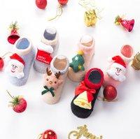 baby-weihnachtshefterzufuhren großhandel-Baby Kleinkinder Anti-Rutsch Fuzzy Slipper Boden atmungsaktiv dicke Kinder Jungen Mädchen Weihnachten Indoor Winter warme Schuhe Socken