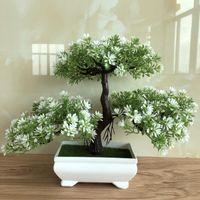 flores de loto decoración para el hogar al por mayor-Ganoderma Tree Lotus Pine Tree Simulación Flor Planta Artificial Bonsai Fake Green Pot Plants Adornos Decoración para el hogar Artesanía