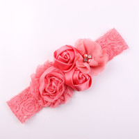 Wholesale hair band rose red online - Children Hair Band Floral Baby Hair Band Feather Chiffon Flower Rose Flower Lace Stretch Headband Child