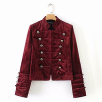 chaqueta de uniforme rojo de mujer al por mayor-Spring Velvet Windbreaker Jacket Women Red / Black Court uniform Coat Mujer Manga larga Otoño Short Chaqueta bomber para mujer SH190905