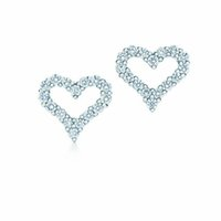 Wholesale hollow sterling silver heart earrings for sale - Group buy NEW Charm Gift Sterling Silver Gemstone Hollow Heart Shape TF Attractive Elegance Temperament Earrings World Jewelry