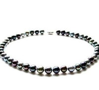 collar del mar del sur al por mayor-10-11mm Natural South Seas Black Pearl Necklace 18inch 925 Silver Accessories