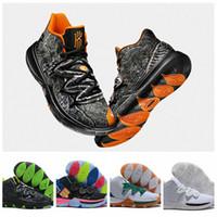 chaussures de basketball arc en ciel achat en gros de-2019 Kyrie 5 5s Taco Noir Magique Ciel étoile Chaussures De Basket-ball Pour Hommes Chaussures 5s 5 Hommes Arc-En-Noir Noir Blanc Baskets De Sport Taille Nous 7-12