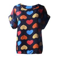 tropische bluse großhandel-Shirt Damen Blusen Kurzarm Lässige Blumendruck Tropical Chiffon Shirt Love Print Top