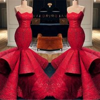 ingrosso bello lungamente vestito dal merletto rosso-Bella Red Mermaid Sweetheart Satin abiti da sera formale 2019 New Lace Paillettes abiti da ballo lungo Pageant abiti BC0888