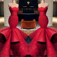 hermosa lentejuela sirena prom al por mayor-Hermosa sirena roja cariño satén vestidos de noche formales 2019 Nuevas lentejuelas de encaje vestidos largos de baile vestidos de desfile BC0888
